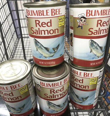 Delicious WILD CAUGHT Bumble Bee Red Salmon, 14.75OZ(PACK 5)best By