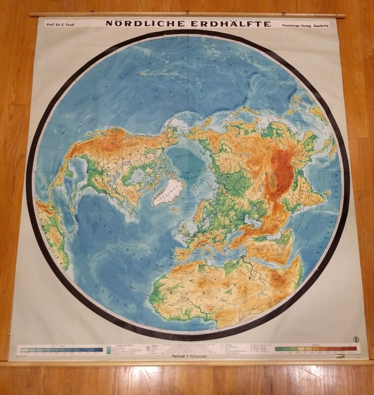 Amazing Rare Northern Hemisphere Perspective Map Polar Region Wall Chart School