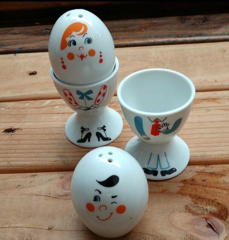 VTG mug people by papel egg cups & shakers (set)