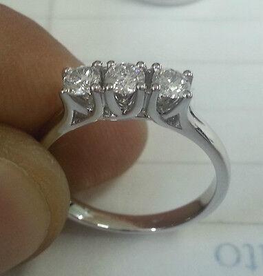 Anello Oro Bianco 18 kt Trilogy Diamanti 0,60 Carati f color vs1 Regalo Donna