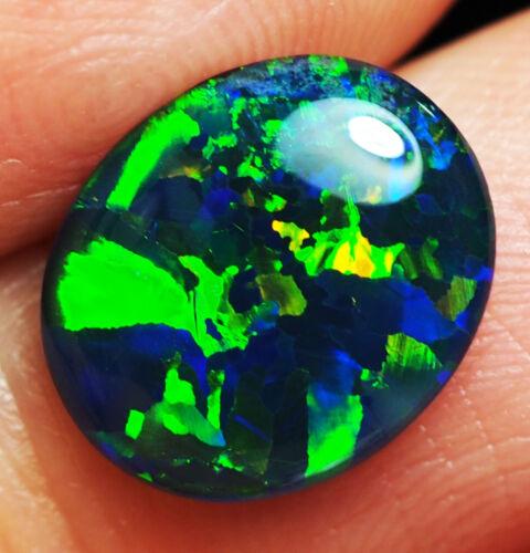 Super Gem A+++ Natural Australian Coober Pedy Opal Triplet 12x10 mm pendant ring