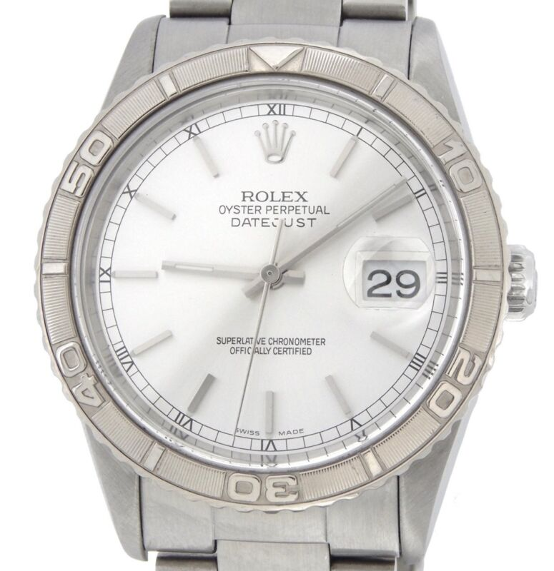 Mens Rolex Datejust Thunderbird Turn-o-graph Stainless Steel Watch Silver 16264