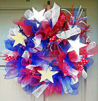 Handmade 4th of July Deco Mesh Everyday Patriotic Summer Wreath Door Decor