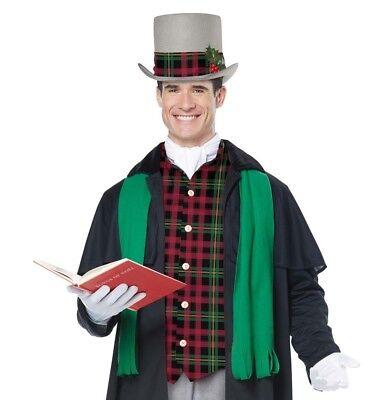 Men's Victorian Christmas Caroler Dickens Jacket Vest Hat Ascot Scarf Costume (Kostüme Dickens Christmas Carol)