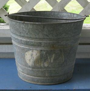Vintage old galvanized metal bucket pail garden planter for Metal bucket planter