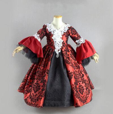 Halloween Vampire Girls Costume Victorian Gothic Court Princess Dress Ball Gown (Vampire Girls Costume)