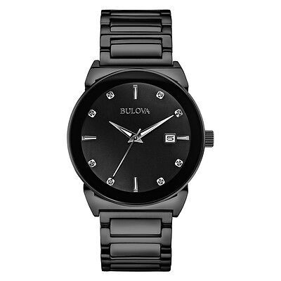 Bulova Men's 98D121 Diamond Accents Quartz Black Bracelet 40mm Watch