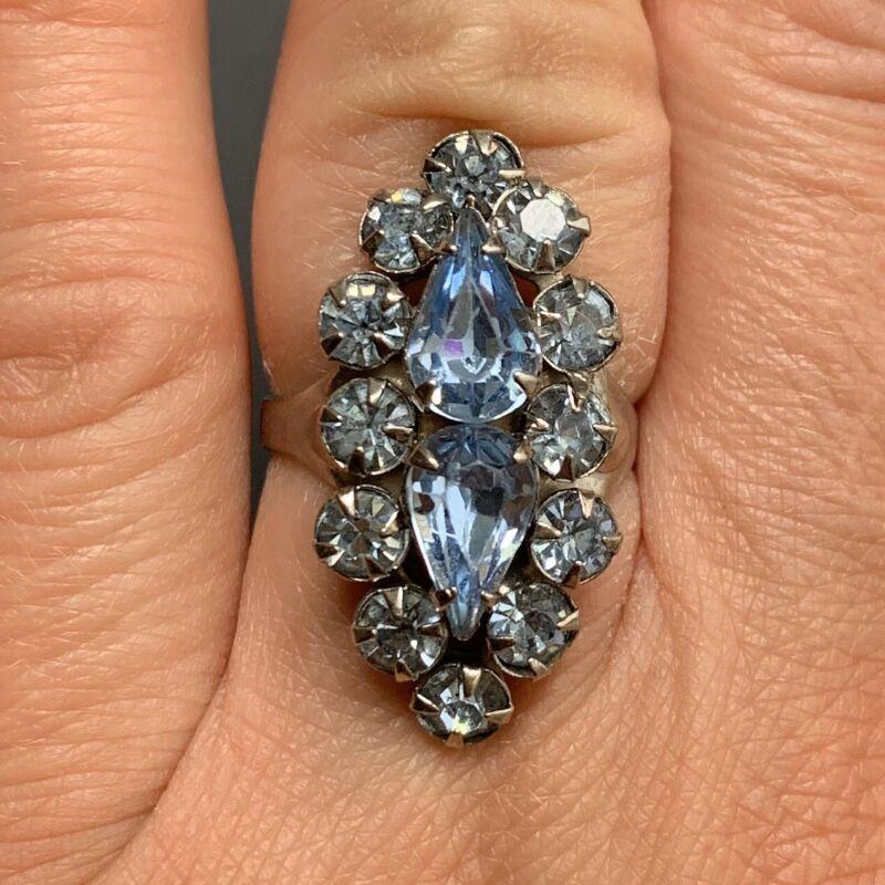 Vintage Light Blue Rhinestone Adjustable Cocktail Statement Ring Periwinkle