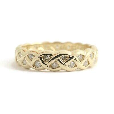 Diamond Braided Eternity Wedding Band Ring 14K Yellow Gold, Size 6.5, 3.09 Gr