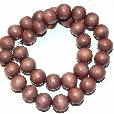 W340f Burgundy Brown 12mm Round Ball Wood Beads 15 Strand
