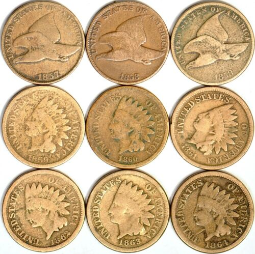 (9-Coin Set)1857-1864 1C Flying Eagle & Indian Head Cents Lot Good  K10258