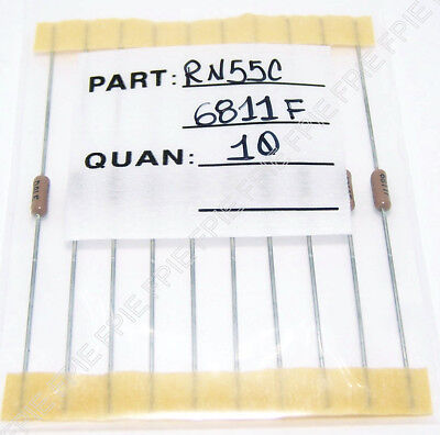 Lot Of 10 6.81k Ohm 110w 1 Metal Film Resistor Vishay Dale Rn55c6811f