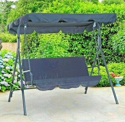 Out sunny Grey 3 Seater Garden Seat Swinging Hammock Outdoor  Patio Furniture
