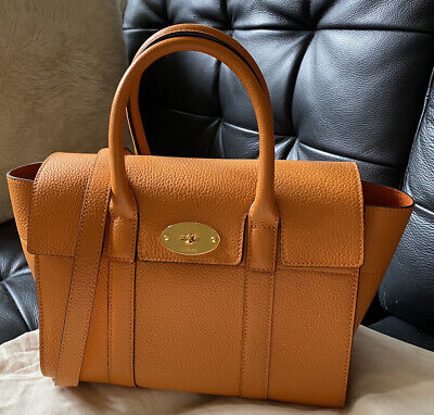 Auth New Mulberry Small Bayswater Bag Handbag Autumn Gold Orange Grainy Leather