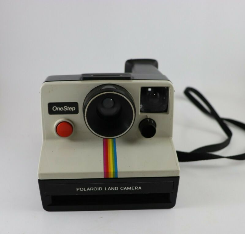 Vintage Polaroid SX-70 One Step Rainbow Stripe Land Camera with Strap.