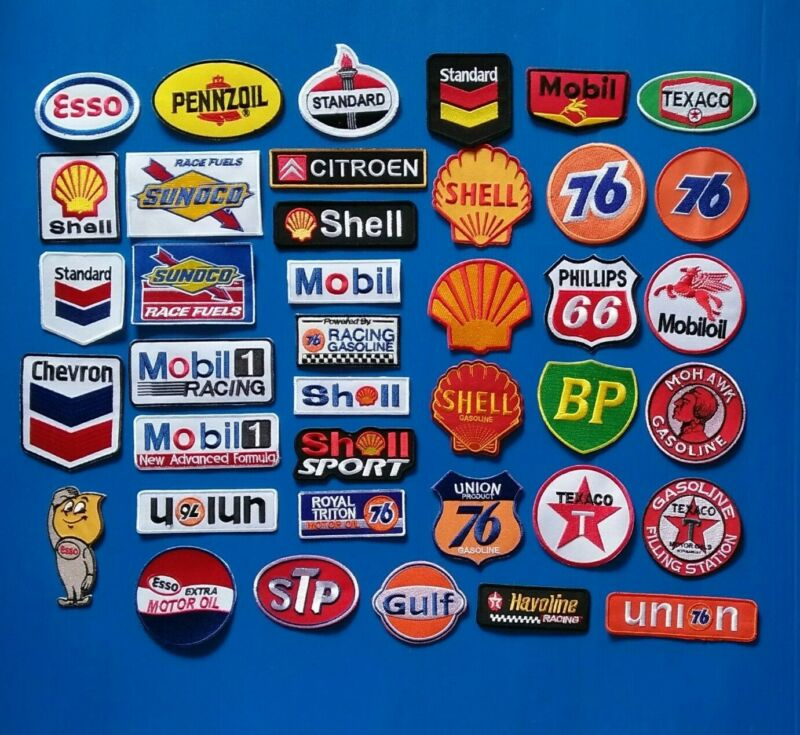 12 NEW RANDOM GAS/OIL Easy Sew/Iron On WHOLESALE 3 /4 Inch PATCHES