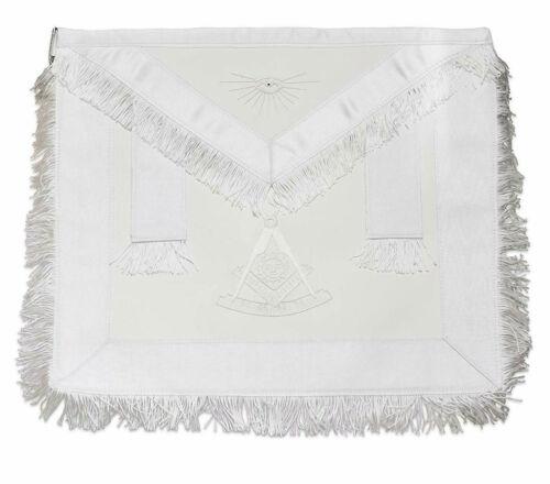 Masonic Hand Embroidery White Fringed Past Master Apron with Sun -%100 Lambskin