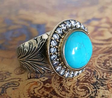 Turquoise & Cubic Zirconia GEMSTONE ring, Size 7 3/4 US, Two tone