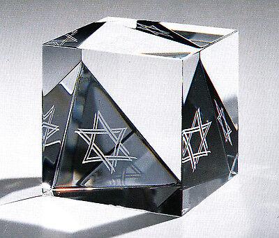 ORIGINAL NEW in BOX STEUBEN glass STAR of DAVID paperweight PRISM Judaica