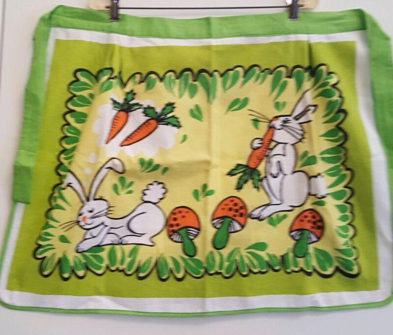 VTG Easter Kitchen Kitsch Apron Handmade Rabbits Bunnies Mushrooms Carrots