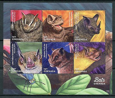 Grenada 2017 MNH Bats of Grenada 2v S/S Mastiff Fruit Bat Wild Animals Stamps