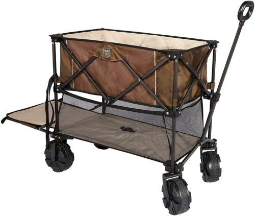 Folding Double Decker Wagon Heavy Duty Collapsible Cart With Big Wheels Brown