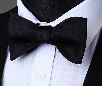 Houndstooth Bow Tie (BS704L Black Houndstooth Bowtie Men Cotton Party Classic Wedding Self Bow)