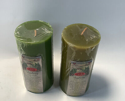 Set Of 2 Holiday Traditions Bayberry Green Pillar Candles Aurora Candlers