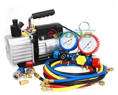 R410A R134A R22 4.8 CFM Vacuum Pump HVAC A/C Refrigerant W/4VALVE MANIFOLD GAUGE