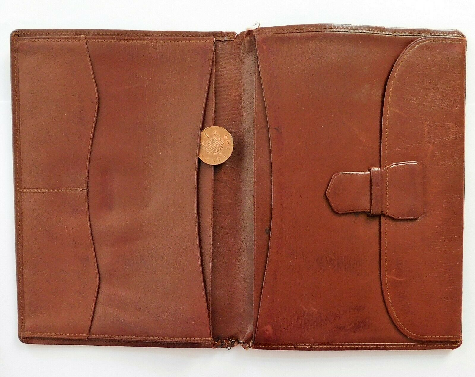 SMG vintage travel wallet real leather brown LARGE 16x12 cm Art Deco mens