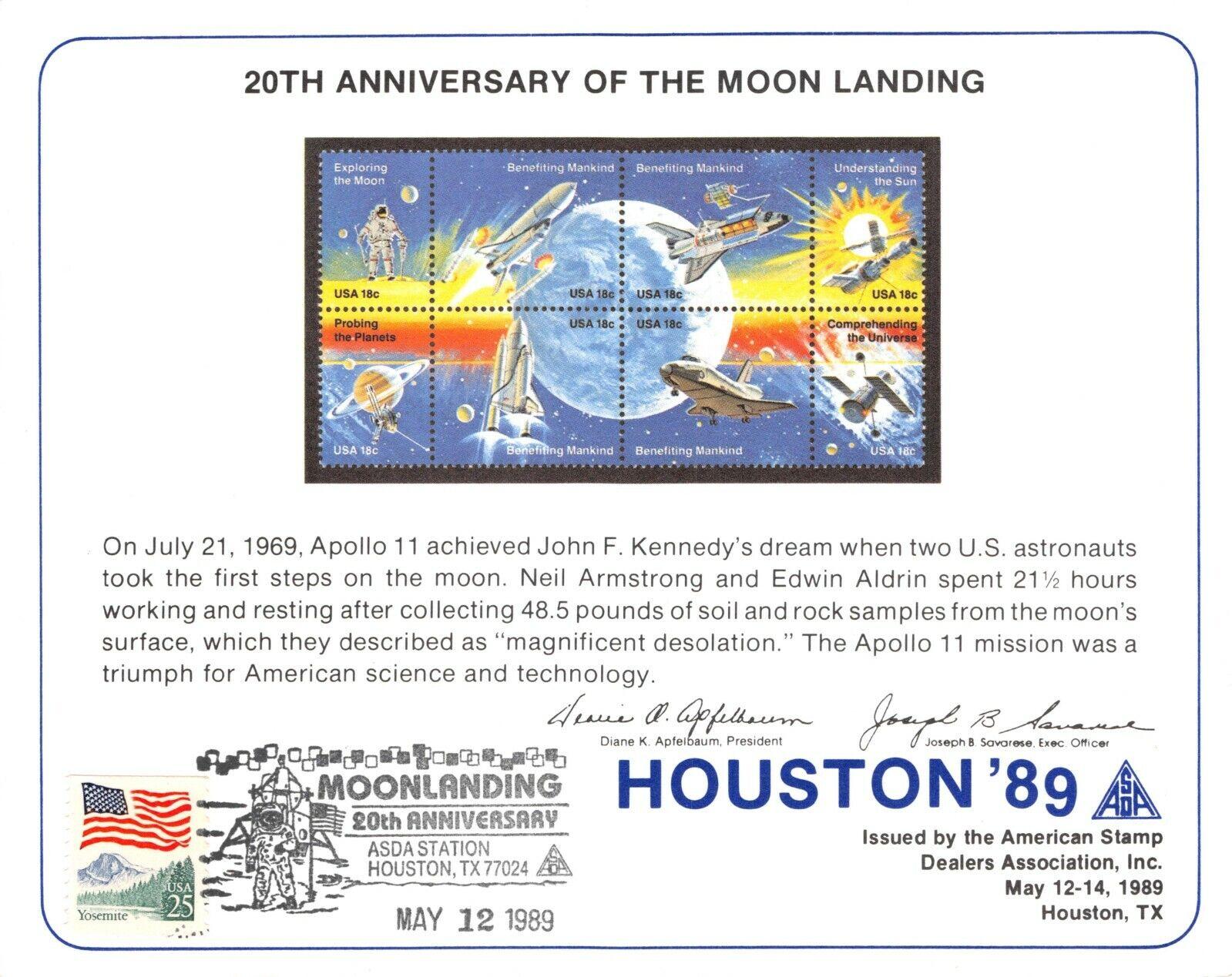 APOLLO 11 20th ANNIV MOON LANDING BENEFITING MANKIND SOUVENIR CARD FLAG 2285 - $2.34