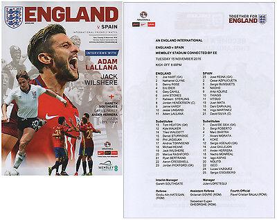 England v Spain 15/11/2016 Programme plus free colour copy teamsheet