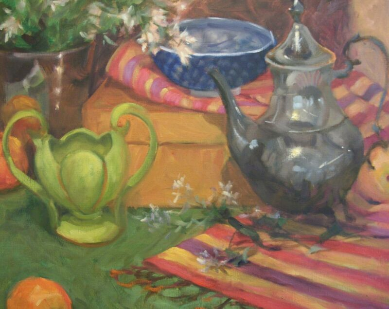Vintage Green Vase, red, violet, gold striped cloth oil painting Margaret Aycock