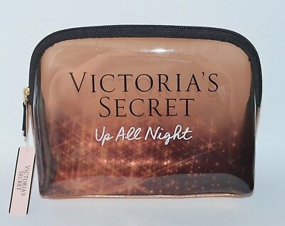 VICTORIA'S SECRET UP ALL NIGHT GOLD MAKEUP COSMETIC CASE BEAUTY BAG ORGANIZER