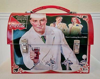 """Retro Coca-Cola """"Fountain Service"""" Tin Lunch Box; Mint Condition; NEVER USED"""