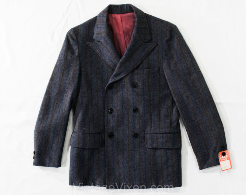 Teen Boys Size 14 Suit Jacket - 1960s Gray Gangster Pinstripe - 1940s Inspired