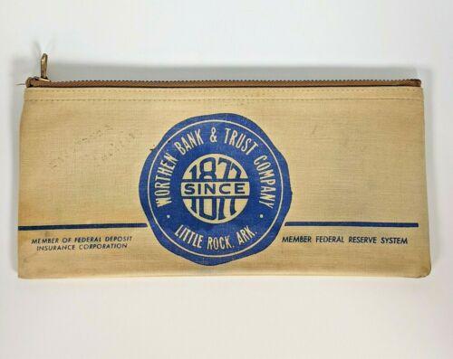 Vintage Canvas Zipper Bank Deposit Bag Pouch, Worthen Bank & Trust AR, Pre-1972