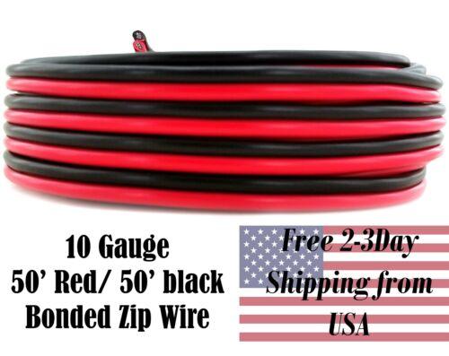 10 Ga Gauge Red Black Speaker Wire 12V Auto Remote Hookup Power Cable CCA 50 FT