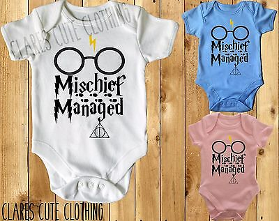 MISCHIEF MANAGED  HARRY POTTER BABY VEST/ GROW /BODYSUIT AVAILABLE IN MOST SIZE ()