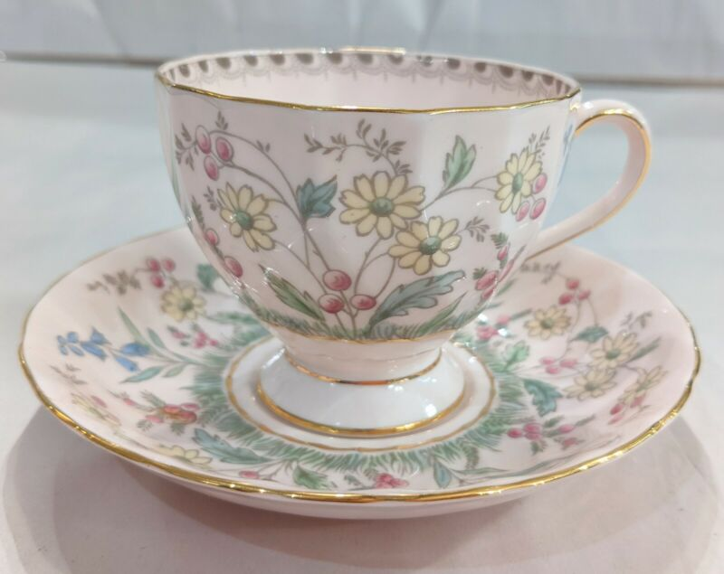 Tuscan Fine English Bone China Teacup And Saucer Pink Florals
