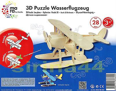 "3D-Puzzle Holzbausatz Flugzeug ""Wasserflugzeug"" von Marabu FSC ab 6J. 20x24x15cm"
