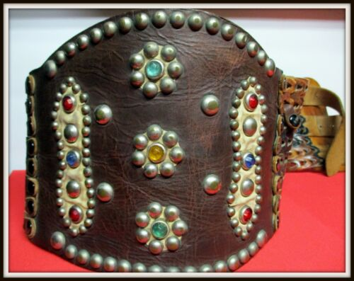 """Extremely Rare Antique 5"""" Wide Lady Bronc Buster Rider Belt Colored Sets & Spots"""