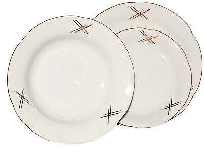 Gold-service Plate (Round Porcelain Dinner Set 18 Piece Ceramic Dinnerware Gold Lines Service Plate)