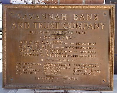 1911 Antique Plaque Savannah Bank & Trust Historic Building 30x40 Bronze Sign