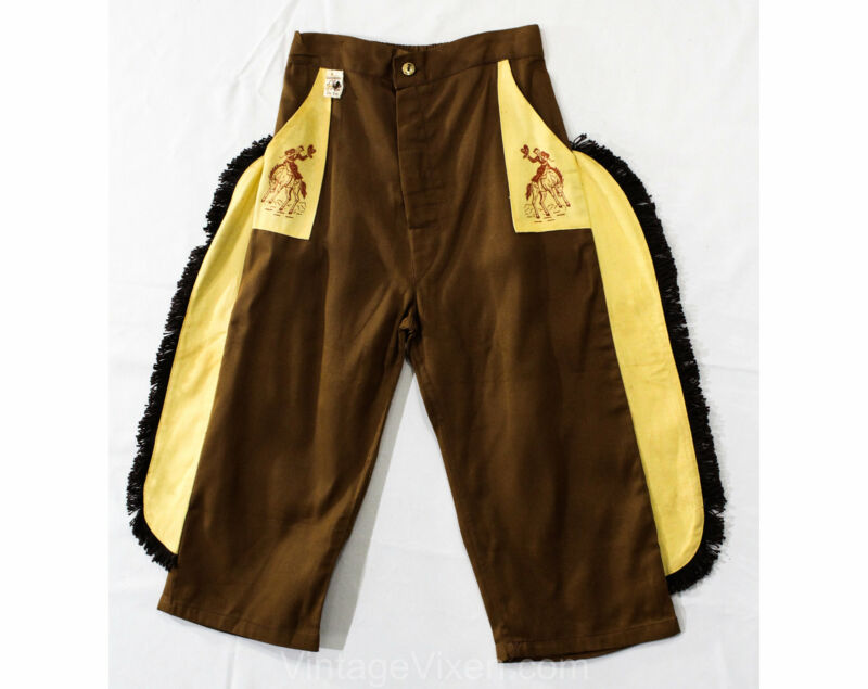 Child Size 10 1940s Cowboy Pants - Boys 40s 50s Western Trousers Fringe Panels
