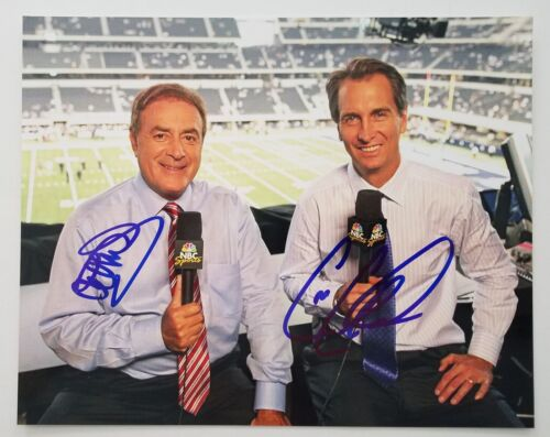 Al Michaels Cris Collinsworth Signed 8x10 Photo NFL HOF Sportscaster LEGENDS RAD