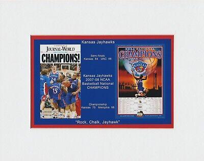 Kansas Jayhawks Paper (KANSAS JAYHAWKS MATTED COLLAGE PIC 2008 NCAA CHAMPS POSTER/NEWSPAPER FRONT)