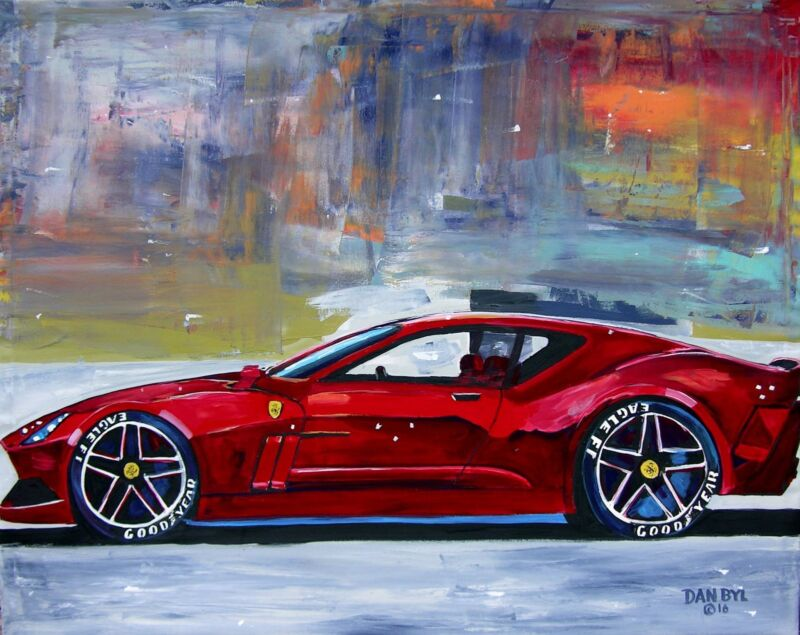 Ferrari Sports Car Original Art PAINTING DAN BYL Modern Contemporary Huge 4x5ft