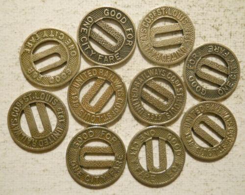 Lot of 10 United Railways Company of St. Louis (Missouri) transit tokens  MO910D