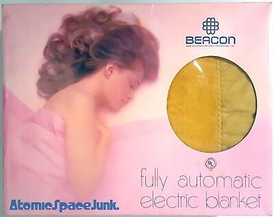 BEACON ELECTRIC BLANKET VINTAGE UNUSED NIB FULL GOLDENROD HARVEST GOLD YELLOW